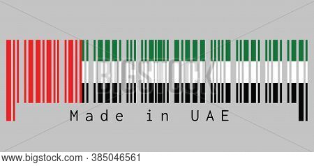 Barcode Set The Color Of Uae Flag, Horizontal Tricolor Of Green, White And Black With A Vertical Red