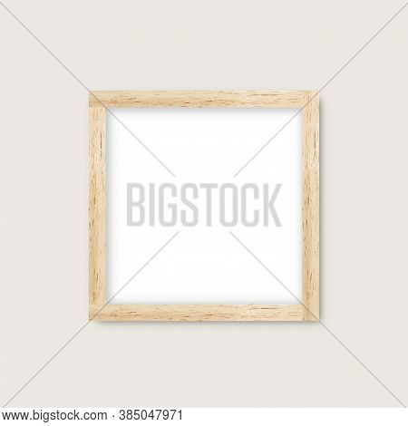 Realistic Vector Wood Gallery Frame, Mock Up Of Wooden Blank Cover