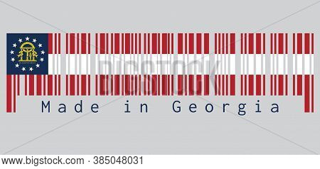 Barcode Set The Color Of Georgia Flag, The States Of America,  Stripes Of Red And White, And Coat Of