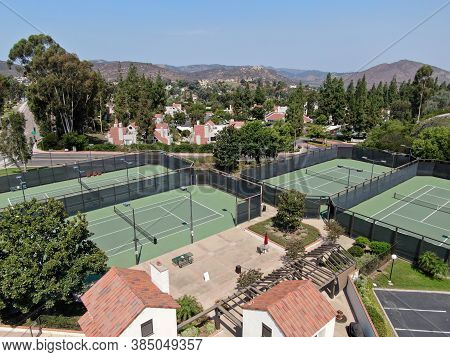 Aerial View Of Tennis Court In Middle Class Neighborhood Community In Rancho Bernardo, South Califor