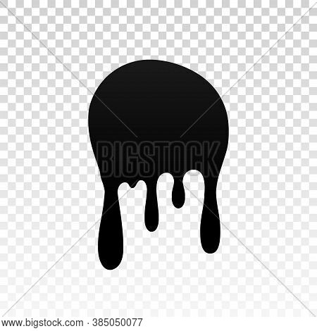 Drip Paint. Ink Stain. Drop Melt Liquid Isolated On White Transparent Background. Splash Of Chocolat