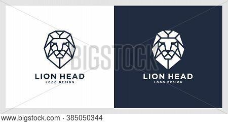 Lion Head Mono Line Logo Vector Premium Design
