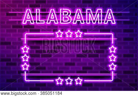 Alabama Us State Glowing Purple Neon Lettering And A Rectangular Frame With Stars. Realistic Vector