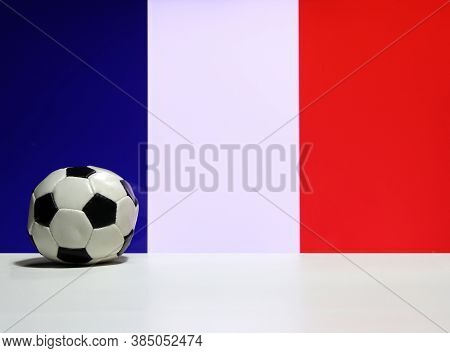 Small Football On The White Floor And Tri Color Or Blue White And Red Color Of French Nation Flag Ba