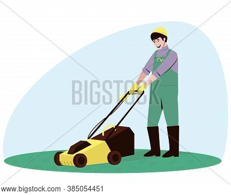 Male Handyman Character Mowing Grass With A Lawn Mower. Mowing Young Low Grass On A Lawn Or A Flat M