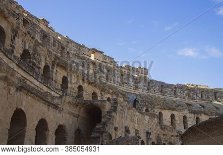 Coliseum Of El Jem Tunisia. Ancient Amphitheatre In North Africa 13 Oct 2018