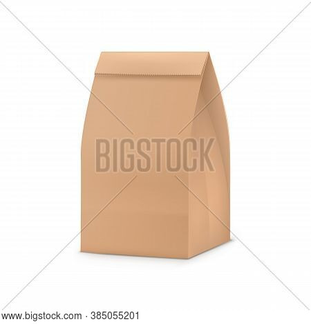 Paper Bag Package. Blank Brown Paper Snack Bag For Your Design. Shop, Cafe And Restaurant Packaging