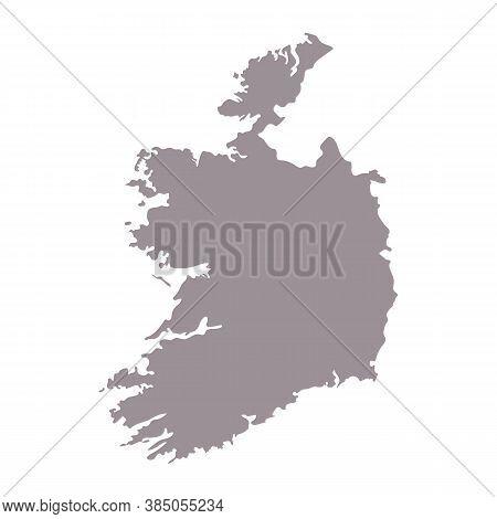 Ireland Blank Map Silhouette. High Detailed Editable Gray Ireland Map. European Country Borders Vect