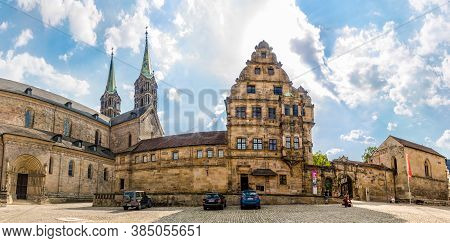 Bamberg,germany - August 09,2020 - Panoramic View At The Cathedral Place In Bamberg. Bamberg Is A To