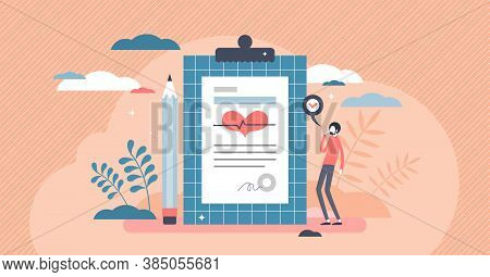 Diagnosis From Patient Body Checkup For Health Examination Tiny Person Concept. Medical Statement Af