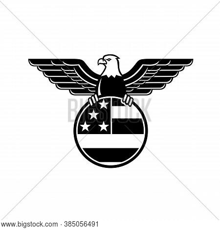 Mascot Illustration Of A Bald Eagle With Wings Spread Clutching American Or United States Stars And