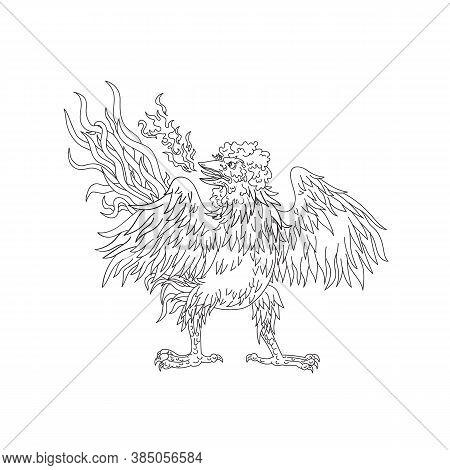 Ukiyo-e Or Ukiyo Style Illustration Of A Basan, Basabasa Or Inuhoo, A Fowl-like Bird From Japanese M