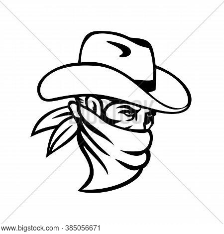 Mascot Illustration Of A Cowboy Bandit, Outlaw, Highwayman, Maverick Or Robber Wearing A Face Mask,