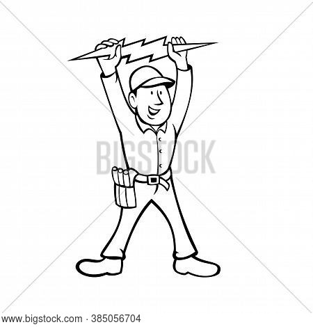 Black And White Cartoon Illustration Of An Electrician, Power Lineman Or Construction Worker Holding