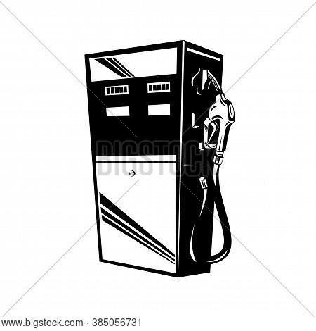 Retro Style Illustration Of A Vintage Gasoline, Gas Fuel, Petrol, Petroleum Pump Station On Isolated
