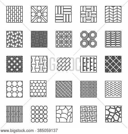 Home Paving Icons Set. Outline Set Of Home Paving Vector Icons For Web Design Isolated On White Back