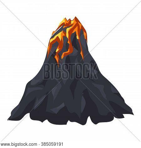 Lava Volcano Icon. Cartoon Of Lava Volcano Vector Icon For Web Design Isolated On White Background