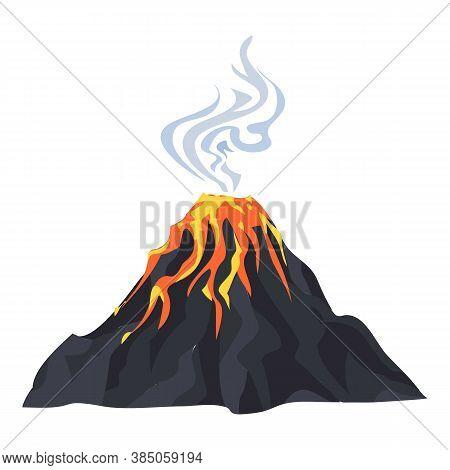 Lava Eruption Volcano Icon. Cartoon Of Lava Eruption Volcano Vector Icon For Web Design Isolated On