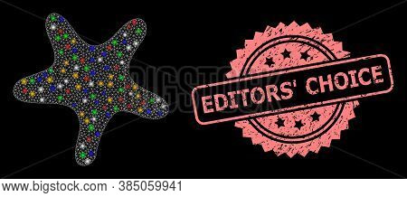 Shiny Mesh Net Bent Star With Light Spots, And Editors Choice Dirty Rosette Stamp. Illuminated Vecto
