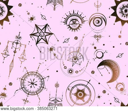 Seamless Pattern With The Concept Of A Tarro Card With Space And Mystical Objects, Spirituality And
