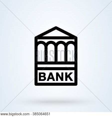 E-banking Or Bank Building Sign Icon Or Logo. Internet Banking Concept. Online Financial Business Op