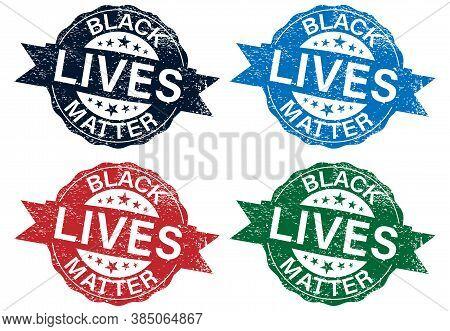 Black Lives Matter Text Vector Vintage Stamp Set. Stop Racism. I Cant Breathe. Stop Shooting. Dont S