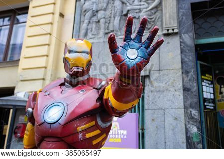 Iron Man Tony Stark Statue With Arm Extended Forward Near Movie Art Museum - Saint Petersburg, Russi