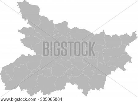 Bihar Districts Map. Indian State. Gray Background. Business Concepts And Backgrounds.