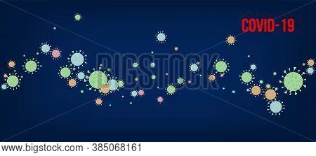 Covid-19 Quarantine Ncov Banner. Virus Protection Flat Corona Web Page. Flat Cartoon Coronavirus Med
