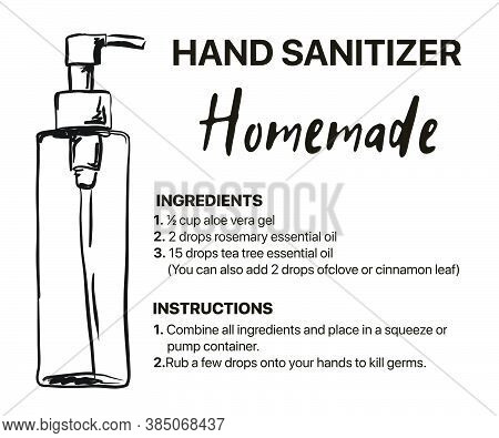 Homemade Hand Sanitizer Recipes, How To Use Hand Sanitizer Infographic, Wash Hands Step By Step And