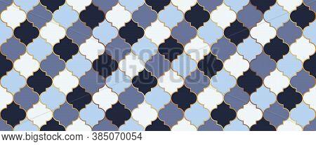 Traditional Ramadan Golden Mosque Tile. Ramadan Kareem Islam Decoration. Eid Mubarak Islamic Backgro