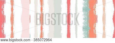 Funky Vertical Stripes Seamless Background. Spring Summer Distress Stripes. Ink Brushed Lines Banner