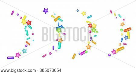 Sprinkle With Grains Of Desserts. Abstract Pattern With Realistic Colorful Sweet Grains On White Bac