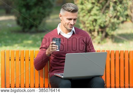Nice Start Of The Day. Good Morning. Mature Handsome Man Work On Computer Outdoor. Well Groomed Man