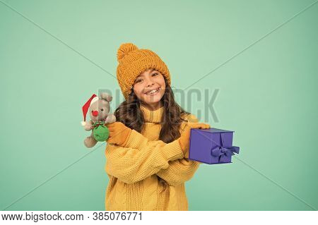 Toys Shop Concept. Girl Sincere Emotional Child Hold Rat Or Mouse Toy. Happy Childhood. Rat Symbol Y