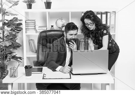 Problem Solving. Business Partners Work On Computer. Communication And It Skills. Workplace Communic