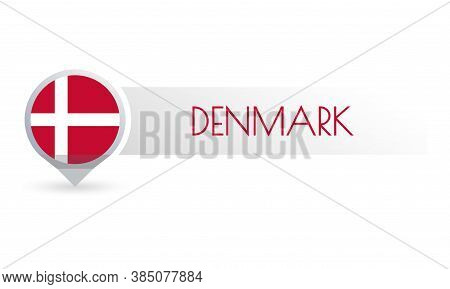 Denmark Flag. Circle Flag Button In The Map Marker Shape. Danish Country Icon, Badge Or Banner. Vect