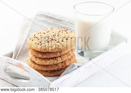 Oatmeal And Red Quinoa Cookies With A Glass Of Milk, On A Wooden Tray, Horizontal