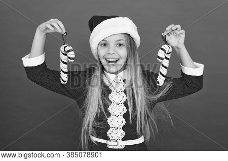 Add More Decorations. Christmas Decorating Ideas. Child Santa Claus Costume Hold Christmas Candy Can