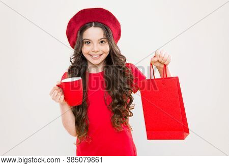 Black Friday. Shopping Day. Child Hold Package. Girl With Shopping Bag. Save Money. Live Better. Red