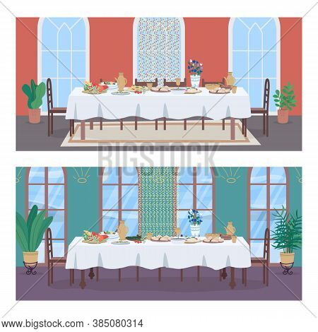 National Oriental Banquet Flat Color Vector Illustration Set. Table With Festive Meal For Family Hol