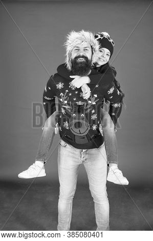 Merry Christmas. Family Celebrate Holiday. Happy Family Hug. Bearded Man And Kid. Best Wishes From U