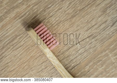 Eco-friendly Bamboo Toothbrush On A Table. Zero-waste. Biodegradable Toothbrush.
