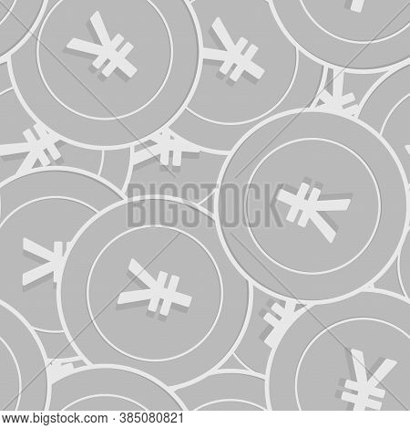 Chinese Yuan Silver Coins Seamless Pattern. Creative Scattered Black And White Cny Coins. Success Co