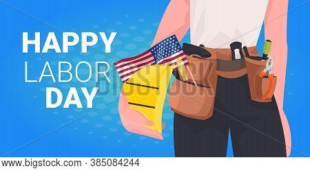 Workman In Uniform With Usa Flag Labor Day Celebration Concept Construction Worker Closeup Portrait