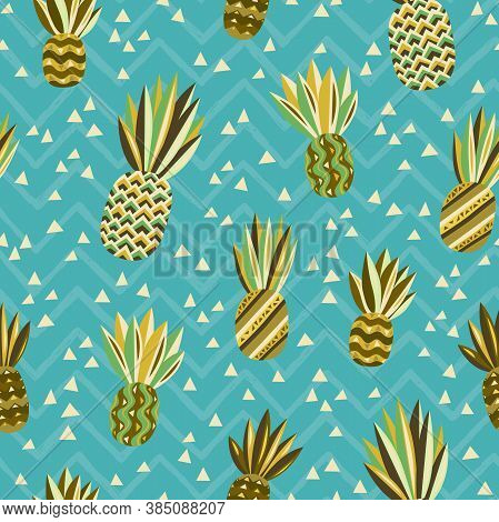 Pineapples Seamless. Jungle Wallpaper. Tropical Fruit. Brazil Tropical Pattern.fabric Background, Te