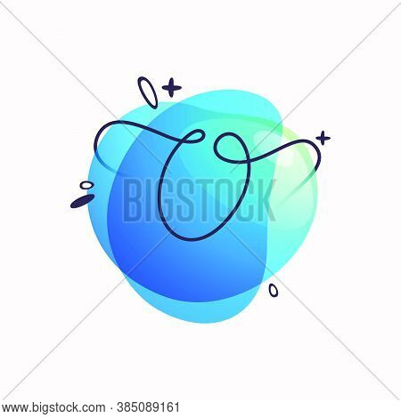 O Letter Logo On Colorful Fluid Watercolor Abstract Shape Background. Gradient Overlapping Style Typ