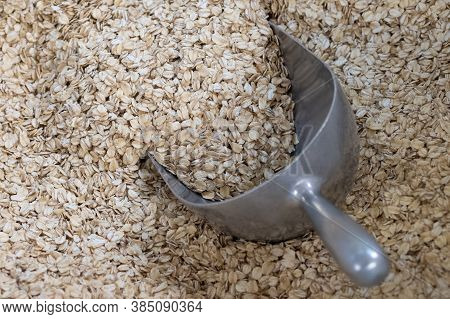 Oat Groats. Oatmeal Background, Texture. Raw Oatmeal.