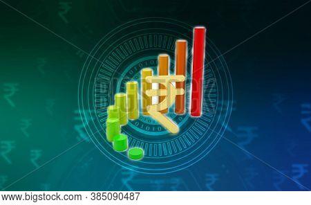 Indian Rupee Background, Stock Market Background With Indian Rupee Symbol, India Finance, Economic B