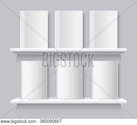 White Books On Bookshelf. Vector Bookshelf Wall With Blank Book Front Covers, Brochure Gallery Shop
